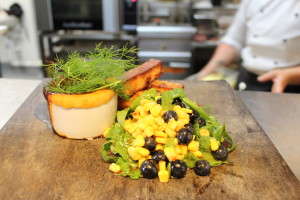 Pulled Pork Pot Pie with corn, blue berry & avocado salad with polenta chips