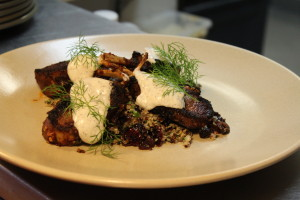 Spiced Lamb Cutlets with quinoa, dried apricot & pistachio salad & rose water yoghurt